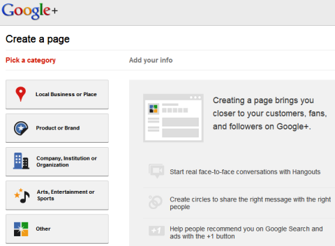 Google+  create a page